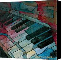 Piano Canvas Prints - On Key - Keyboard Painting Canvas Print by Susanne Clark