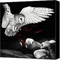 White Canvas Prints - On Silent Wings Canvas Print by Pat Erickson