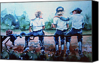 Baseball Painting Canvas Prints - On The Bench Canvas Print by Hanne Lore Koehler