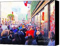 Powell Street Digital Art Canvas Prints - On The Day Before Christmas . Stockton Street San Francisco . Photo Artwork Canvas Print by Wingsdomain Art and Photography