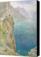 Watercolor On Paper Canvas Prints - On the Italian Coast Canvas Print by Harry Goodwin