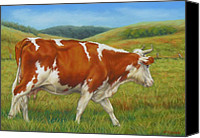 Cattle Pastels Canvas Prints - On The Moove Canvas Print by Margaret Stockdale