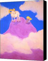 Goat Pastels Canvas Prints - On the Mountaintop Canvas Print by Christine Crosby