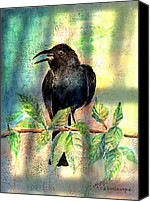 Black Birds Canvas Prints - On The Outside Looking In Canvas Print by Arline Wagner