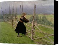 The Shepherdess Canvas Prints - On the Plain Canvas Print by Karl Fredrick Nordstrom