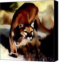 Mountain Lion Digital Art Canvas Prints - On the prowl Canvas Print by Vic Weiford