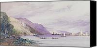 Hill Town Canvas Prints - On the Rhine Canvas Print by William Callow