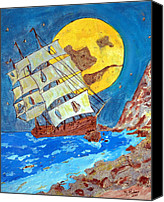Original Glass Pyrography Canvas Prints - On The Rocks Canvas Print by Mike Holder