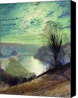 Moonlit Painting Canvas Prints - On the Tees near Barnard Castle Canvas Print by John Atkinson Grimshaw