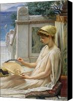Ancient Greece Painting Canvas Prints - On the Terrace Canvas Print by Sir Edward John Poynter