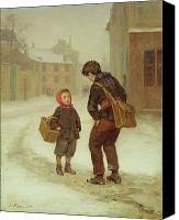 Chat Canvas Prints - On the way to school in the snow Canvas Print by Pierre Edouard Frere