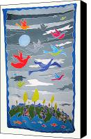 Painted Tapestries - Textiles Canvas Prints - Once In A Blue Moon Canvas Print by Rollin Kocsis