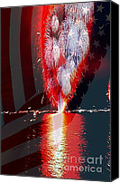 Fourth Of July Photo Canvas Prints - One Big Bang Canvas Print by Cheryl Young