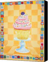 Cake-stand Canvas Prints - One Cupcake Canvas Print by Virginia Keith