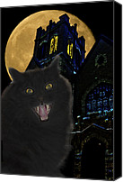 Haunted House Canvas Prints - One Dark Halloween Night Canvas Print by Shane Bechler