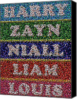 Bottle Caps Canvas Prints - One Direction Names Bottle Cap Mosaic Canvas Print by Paul Van Scott