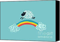 Cloud Digital Art Canvas Prints - One Happy Cloud Canvas Print by Budi Satria Kwan