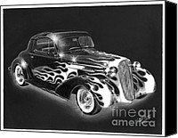 Charcoal Drawing Canvas Prints - One Hot 1936 Chevrolet Coupe Canvas Print by Peter Piatt