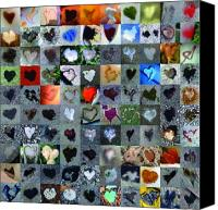 Grid Canvas Prints - One Hundred and One Hearts Canvas Print by Boy Sees Hearts