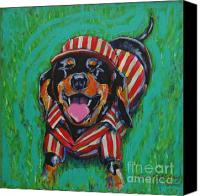 Vendor Painting Canvas Prints - One Lucky Dog Canvas Print by Tami Curtis Ellis