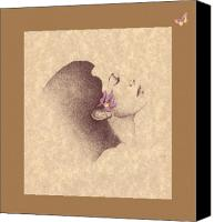 Profile Mixed Media Canvas Prints - One Of A Kind Me  Canvas Print by Albert Fennell