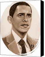 Barack Obama  Canvas Prints - One of Unchartered Waters Canvas Print by Carliss Mora