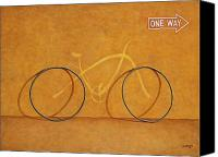 Bike Canvas Prints - One Way Canvas Print by Horacio Cardozo