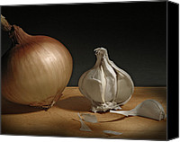 Still Life Pyrography Canvas Prints - Onion and Garlic Canvas Print by Krasimir Tolev