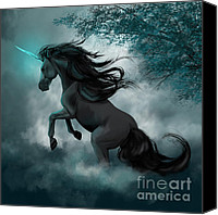 Black Unicorn Canvas Prints - Only Dreams Remain Canvas Print by Kate Black
