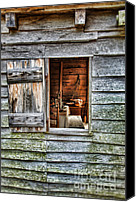 Log Cabin Photo Canvas Prints - Open Window in Pioneer Home Canvas Print by Jill Battaglia