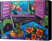 Tropical Beach Painting Canvas Prints - Open Window Canvas Print by Patti Schermerhorn