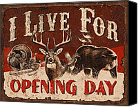 Whitetail Buck Canvas Prints - Opening day Sign Canvas Print by JQ Licensing