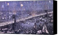 Major Painting Canvas Prints - Opening of the Great New York and Brooklyn Bridge and grand display of fire works Canvas Print by American School