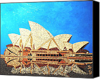Building Reliefs Canvas Prints - Opera of Sydney Canvas Print by Kovats Daniela