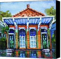 House Painting Canvas Prints - Orange and Blue Canvas Print by Dianne Parks