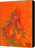 Energy Drawings Canvas Prints - Orange and green Canvas Print by Bodhi