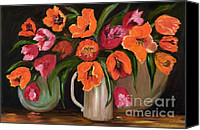 Tulip Stretched Canvas Prints - Orange and Red Tulips Canvas Print by Pati Pelz