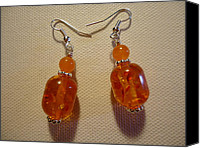 Glitter Earrings Jewelry Canvas Prints - Orange Ball Drop Earrings Canvas Print by Jenna Green