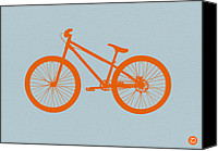 Orange Digital Art Canvas Prints - Orange Bicycle  Canvas Print by Irina  March