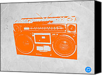 Modernism Canvas Prints - Orange boombox Canvas Print by Irina  March