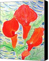 Calla Lily Drawings Canvas Prints - Orange Calla Lily Canvas Print by Audrey Thompson