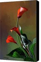 Calla Lily Canvas Prints - Orange Calla lily Canvas Print by Thanh Thuy Nguyen