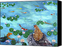 Tabby  Painting Canvas Prints - Orange Cat at Koi Pond Canvas Print by Laura Iverson