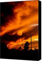 Dana Oliver Canvas Prints - Orange clouds at sunset Canvas Print by Dana  Oliver