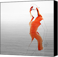 Party Digital Art Canvas Prints - Orange Dress Canvas Print by Irina  March