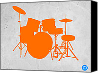 Drum Canvas Prints - Orange Drum Set Canvas Print by Irina  March