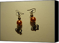Glitter Earrings Jewelry Canvas Prints - Orange Gold Elephant Earrings Canvas Print by Jenna Green