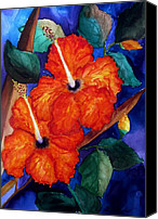 Bold Colors Canvas Prints - Orange Hibiscus Canvas Print by Lil Taylor