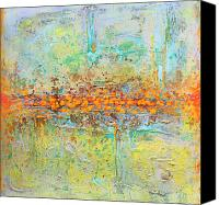 Modern Abstract Art Tapestries - Textiles Canvas Prints - Orange Intenference Canvas Print by Lolita Bronzini