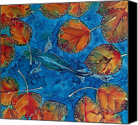 Dyes Tapestries - Textiles Canvas Prints - Orange Leaves and Fish Canvas Print by Carolyn Doe